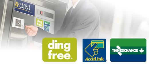 Bank teller machine and logos